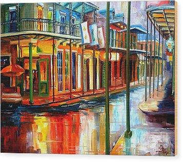 Downpour On Bourbon Street Wood Print by Diane Millsap