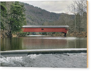 Downstream From The Historic Hillsgrove Covered Bridge Wood Print by Gene Walls