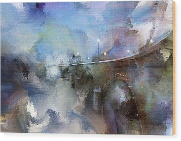 Downtown Bridge Over The Grand Grand Rapids Michigan Wood Print by Evie Carrier