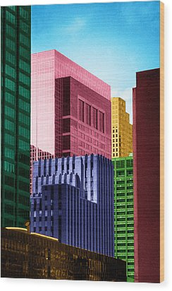 Wood Print featuring the photograph Downtown Building Blocks by Bartz Johnson
