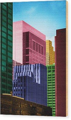 Downtown Building Blocks Wood Print by Bartz Johnson