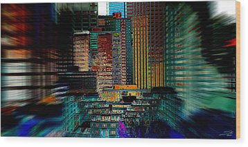 Wood Print featuring the digital art Downtown Chaos by Stuart Turnbull