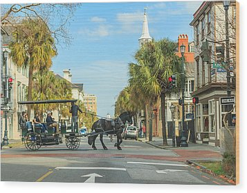 Wood Print featuring the photograph Downtown Charleston Stroll by Patricia Schaefer