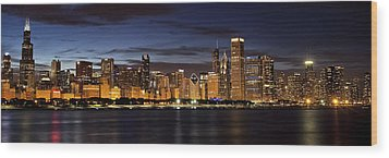 Downtown Chicago Panorama Wood Print by Andrew Soundarajan