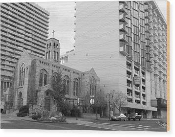 Downtown Church  Wood Print