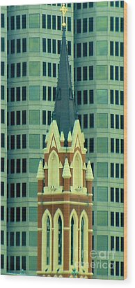 Downtown Dallas Wood Print by Janette Boyd