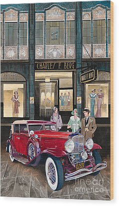 Downtown Duesenberg 1931 Wood Print by Mike Hill