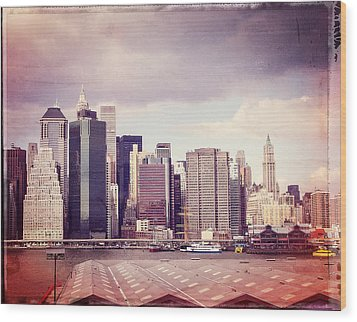 Downtown From Brooklyn Wood Print by Frank Winters