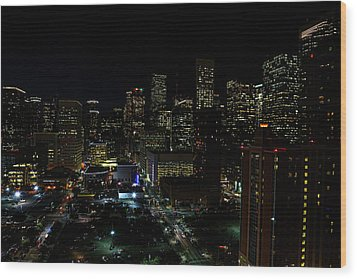 Downtown Houston At Night Wood Print by Judy Vincent