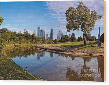 Downtown Houston Panorama From Buffalo Bayou Park Wood Print