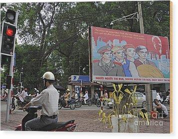 Downtown In Hanoi Wood Print by Sami Sarkis