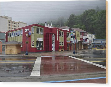 Wood Print featuring the photograph Downtown Juneau On A Rainy Day by Cathy Mahnke