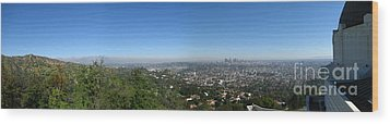 Downtown La From Griffith Observatory Wood Print by Bedros Awak