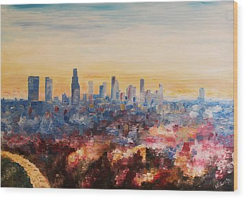 Downtown Los Angeles At Dusk Wood Print by M Bleichner