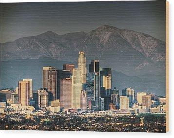 Downtown Los Angeles Wood Print by Natasha Bishop