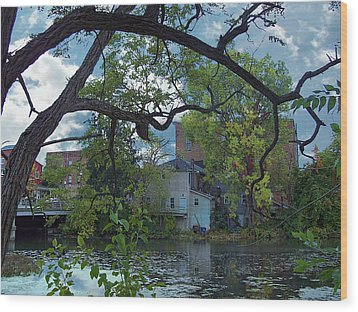 Downtown Manchester Wood Print by MJ Olsen