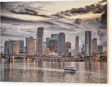 Downtown Miami Skyline In Hdr Wood Print