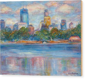 Downtown Minneapolis Skyline From Lake Calhoun II - Or Commission Your City Painting Wood Print by Quin Sweetman