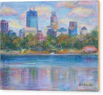 Downtown Minneapolis Skyline From Lake Calhoun Wood Print by Quin Sweetman
