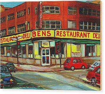 Downtown Montreal Memories Ben's Restaurant Deli  Le Fameux Smoked Meat Produits By Carole Spandau Wood Print by Carole Spandau