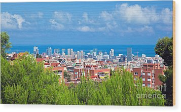 Downtown Panorama Of Barcelona Wood Print by Michal Bednarek
