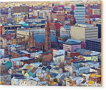 Downtown Paterson Wood Print by Mark Miller