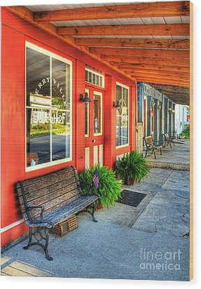 Downtown Perryville Wood Print by Mel Steinhauer
