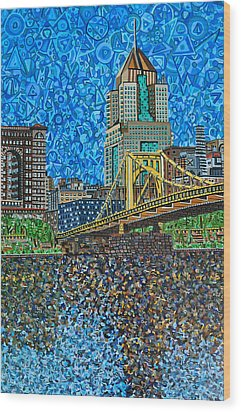 Downtown Pittsburgh - Roberto Clemente Bridge Wood Print by Micah Mullen