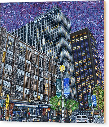 Downtown Raleigh - Hudson Building Wood Print by Micah Mullen