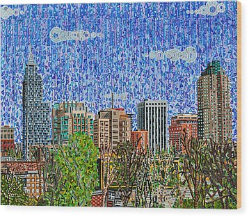 Downtown Raleigh - View From Boylan Street Bridge Wood Print by Micah Mullen
