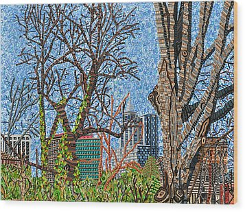 Downtown Raleigh - View From Chavis Park Wood Print by Micah Mullen
