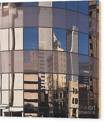 Downtown Reflections Wood Print by Lawrence Burry