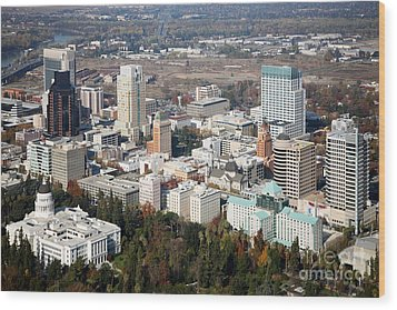 Downtown Sacramento And Capitol Park Wood Print by Bill Cobb