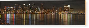 Downtown San Diego At Night From Harbor Drive Wood Print