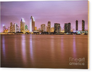 Downtown San Diego Skyline At Night Wood Print by Paul Velgos