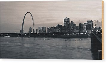 Downtown St. Louis In Twilight Wood Print by Scott Rackers