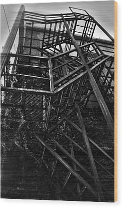 Downtown Stairs Wood Print by Kenal Louis