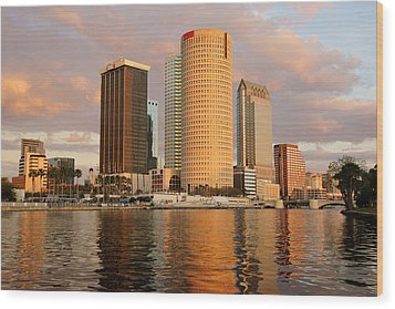 Downtown Tampa At Dusk On Hillsborough River Wood Print by Daniel Woodrum