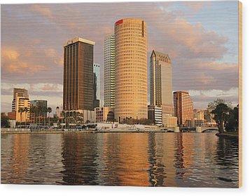 Downtown Tampa At Dusk On Hillsborough River Wood Print