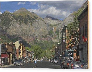 Downtown Telluride Colorado Wood Print by Mike McGlothlen