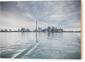 Wood Print featuring the photograph Downtown Toronto Skyline From The Ferry by Anthony Rego