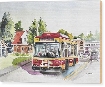 Downtown Trolley Wood Print