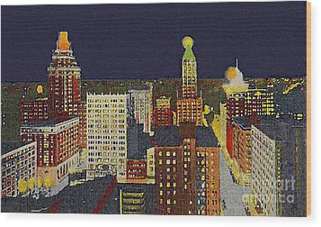Downtown Tulsa At Night Around 1940 Wood Print