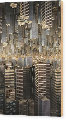 Wood Print featuring the digital art Downtown/uptown by Matt Lindley