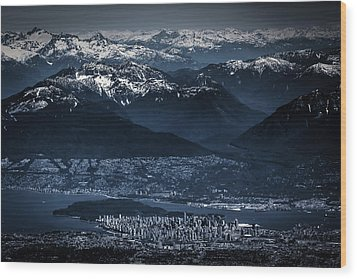 Downtown Vancouver And The Mountains Aerial View Low Key Wood Print