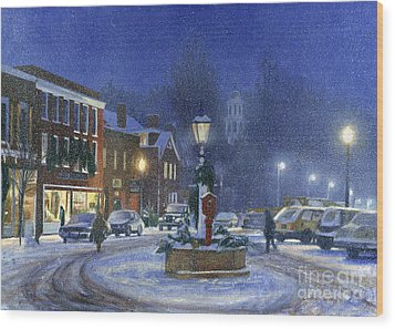 Downtown Woodstock Wood Print by Candace Lovely