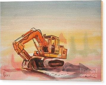 Dozer In Watercolor  Wood Print by Kip DeVore