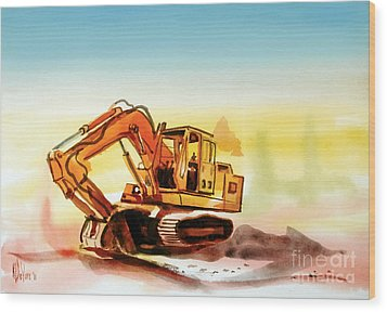 Dozer October Wood Print