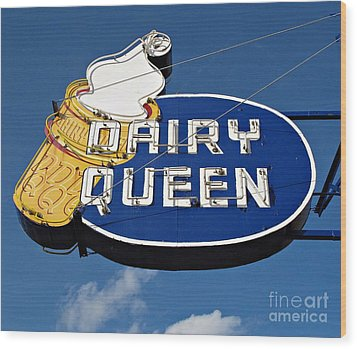 Dq Cone Sign Wood Print by Ethna Gillespie