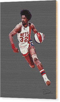 Dr. J Wood Print by Charley Pallos